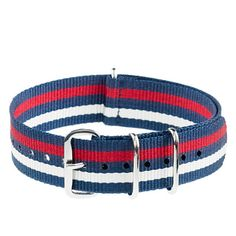 Striped watch strap - Blue red natural from J.CREW