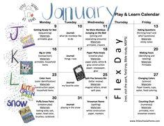 January Play & Learn Calendar