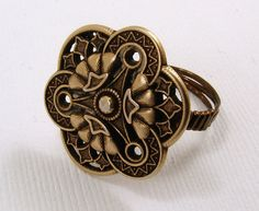 Brass Button Ring Size 5 3/4 by SecondNatureJewelry on Etsy, $8.00