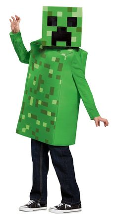 Take your digital adventures to the real world! From the hit video game, Minecraft comes this child's Creeper costume. The costume includes a foam body tunic with a variegated green pixel print on the front and back. The costume also comes with a vacuform half mask that has a foam insert and a mesh eye-plate for comfort. This is an officially licensed Minecraft product. Diy Halloween Games, Outdoor Halloween, Halloween Projects, Halloween Party, Halloween Costumes, Halloween Nails, Creeper Minecraft, Minecraft Skins, Funny