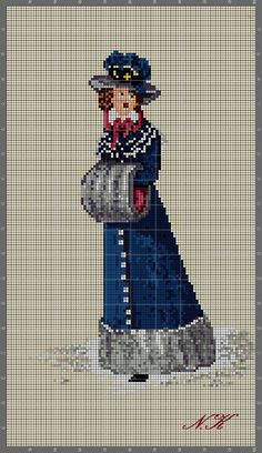 """A Victorian Lady on a cold winter day"" Cross Stitch Numbers, Cross Stitch Cards, Cross Stitching, Cross Stitch Embroidery, Cross Stitch Designs, Cross Stitch Patterns, Cross Love, Stitch And Angel, Stitch Doll"