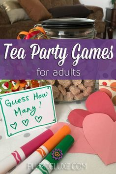 Tea Party Games for Adults Why not add an element of good old-fashioned fun to your event with these six tea party games for adults?Why not add an element of good old-fashioned fun to your event with these six tea party games for adults? Tea Party Activities, Tea Party Games, Tea Party Favors, Tea Party Theme, Tea Party Decorations, Adult Party Games, Birthday Party Games, Tea Party Crafts, Birthday Ideas