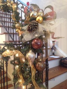 Add some extra special ornaments, pine cones and nicely tied ribbons at the staircase landing.  Decorating homes and businesses for the Holidays in Toronto.  We love what we do!