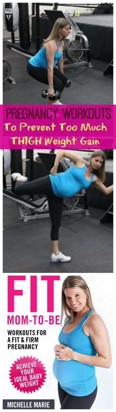Pregnancy Workout to help not gain a ton of weight in the legs hips and butt. 20 Squats, 40 Side Kicks, repeat 3 times total. More pregnancy workouts to help reduce pregnancy weight gain to a happy and healthy one.