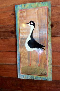 Black-necked Stilt painting distressed frame one of a kind original art on reclaimed wood home decor wall hanging wildlife artist Todd Lynd by oceanarts10 on Etsy