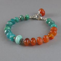 Carnelian Amazonite Peruvian Opal Sterling Silver Bead Bracelet Green Orange Gemstone