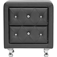 Universal Lighting and Decor Stella Crystal Tufted Black Upholstered... (280 AUD) ❤ liked on Polyvore featuring home, furniture, storage & shelves, nightstands, tables, beige, cabinets and storage, off white nightstand, antique white nightstand and tufted nightstand