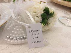 Aniołek z koralików jako forma podziękowania dla gości na np. komunię, chrzciny, ślub.