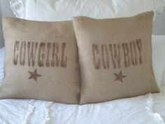 Set of Burlap Cowboy/Cowgirl Pillow Covers. $24.00, via Etsy.