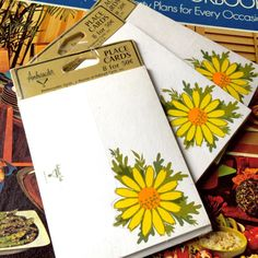 Love 70s daisy home décor? Here is a great set of daisy place cards for your next 70s yellow and green dinner party theme. 3 sealed sets of 8 place