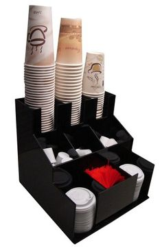 Coffee Cup Dispenser and Lid Holder Organizer Condiment Stirrer, Sugar Cup Caddy Organize and Display Your Beverage Counter with Style (1010) RCS Plastics http://www.amazon.com/dp/B008COW6DA/ref=cm_sw_r_pi_dp_kpvsvb0YV40RB