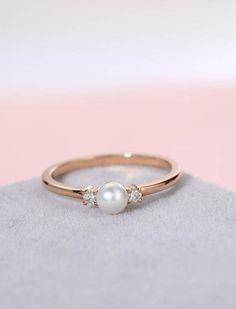Pearl engagement ring rose gold vintage Diamond wedding women