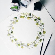 Процесс создания логотипа Меня давно манило нарисовать оливковые ветви и благодаря заказу @olga_oliinyk я осуществила это желание!