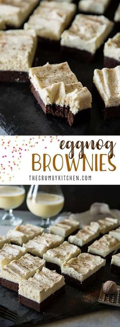 Fudgy The fudgiest brownies with the fluffiest festive buttercream these delicious Eggnog Brownies are going to be the hit of your holiday parties New Year's Desserts, Cute Desserts, Holiday Baking, Christmas Desserts, Christmas Baking, Delicious Desserts, Dessert Recipes, Dessert Ideas, Dessert Bars