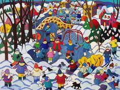 Winter Celebration, 36 x 48 in., acrylic on canvas, by Terry Ananny, Tutt Street Gallery, Kelowna, BC