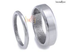 2.5mm/6mm Set, Sterling S... Brent & Jess Fingerprint Wedding Rings Custom Handmade Fingerprint Jewelry