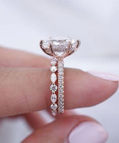 Vintage engagement ring set Unique Art deco engagement ring Rose gold Diamond wedding band women Antique eternity Stacking bridal Jewelry - Fine Jewelry Ideas Now this is an absolute perfection 😍😍😍 Who's in love with this one? Wanna see it on your Oval Engagement, Beautiful Engagement Rings, Gold Engagement Rings, Engagement Ring Settings, Wedding Engagement, Morganite Engagement, Morganite Ring, Intricate Engagement Ring, Disney Engagement Rings