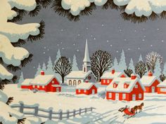 #143 50s Glittered Town at Night-Vintage Christmas Greeting Card