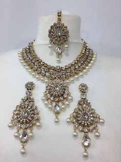 Indian Bollywood Costume Jewellery Set Choker Stone Pearl Gold Party Bridal Wear | eBay
