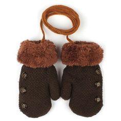 Knitted Full Finger Winter Gloves Kids Wool Warm Boys Children's Mittens Solid Color Rope Glove Girls Button Decoration Mitten