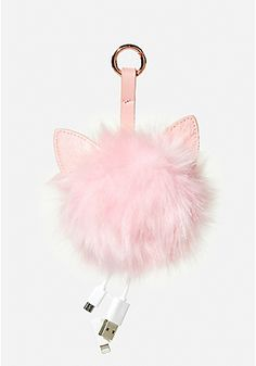 Phone Charging Cat Ear Fur Pom