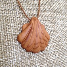 Hand Carved Hardwood Apricot Tree Clam Shell Pendant - wood pendant, natural…