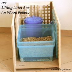DIY sifting cat litter box to use with wood burning pellets.   http://meowlifestyle.com/diy-wood-pellet-litter-box/