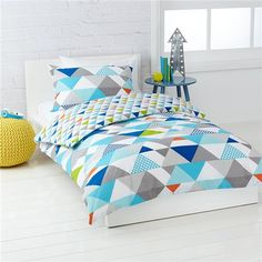 Triangles Quilt Cover Set - Double or Single Bed | Kmart, $18