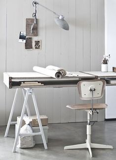 Nice long desk. Task lamp on wall restricts where the desk is located.