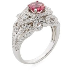 Danni Diamond & Pink Tourmaline Tiara Ring ($2,800) ❤ liked on Polyvore featuring jewelry, rings, no color, 14k ring, 14k jewelry, 14 karat gold ring, pink tourmaline jewelry and diamond dome ring