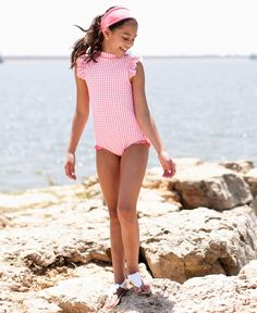 RuffleButts Girls High Neck One Piece UPF 50 Sun Protective Ruffled Swimsuit, Swimsuits For Tweens, Little Girl Swimsuits, Kids Swimwear, Women Swimsuits, Pool Day Outfits, Girl Outfits, Cute Young Girl, Cute Girls, Preteen Girls Fashion