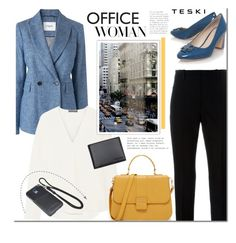 """""""Office Woman"""" by mada-malureanu ❤ liked on Polyvore featuring L.K.Bennett, Theory, Marni, Samsung, Tory Burch, Leather, blazer, wallet and teski"""