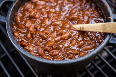 """Sweet 'n Smokey Bourbon """"Baked"""" Beans with Thick-cut Apple Smoked Bacon, Maple & Cracked Black Pepper"""