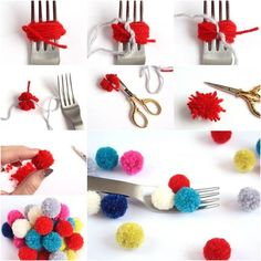 ~~~DIY Small Pom-Poms with a Fork~~~ these look great as christmas wrapping decorations!
