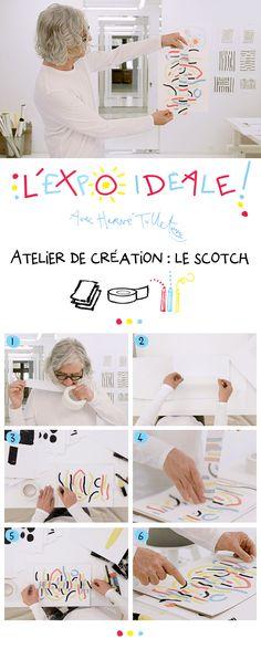 Création : le scotch - L'expo idéale  En positionnant puis repositionnant son scotch sur le papier, Hervé Tullet crée des révélations inattendues pour les yeux.