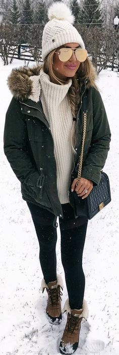 winter outfits cold winter coats ideas for wom - winteroutfits Snow Outfits For Women, Winter Outfits For Teen Girls, Winter Outfits Women, Winter Coats Women, Casual Winter Outfits, Winter Fashion Outfits, Autumn Winter Fashion, Clothes For Women, Women's Casual