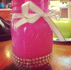 mason jar and spray paint inside pink or some color and add ribbon and diamonds to outside. This is super cute. Pen holder?