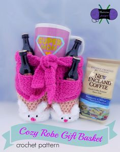 Cozy Robe Gift Basket crochet pattern from Blackstone Designs