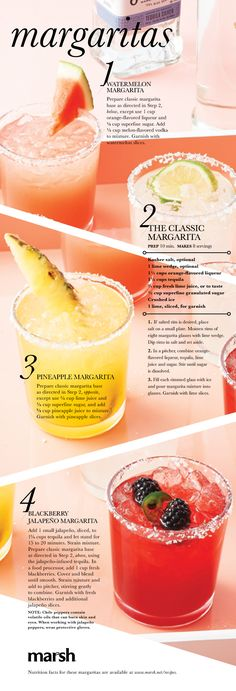 Four easy margarita recipes for the weekend. (Pour Drink Punch Recipes)