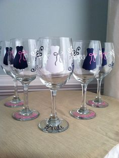 8 Personalized Bridesmaid Wine Glasses SPECIAL by LuLuBeanDesignCo, $84.00