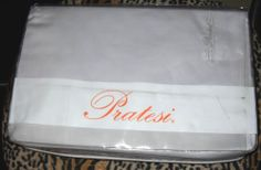 Sleep with a luxurious Italian...Egyptian Cotton sheet set. $600 in stores, $169 + shipping on Ebay from a Top Rated Seller. Pratesi 4 PC Pale Gray Sheet Set Queen NWT 300 TC Made in Italy Pratesi Monogram