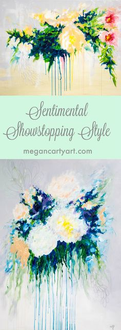 Custom Wedding Bouquet Paintings by Megan Carty — Luxury bespoke art makes a wonderful heirloom gift for your fine decor! Celebrate your marriage every day in style. Luxury ready-made paintings available as well; perfect for joyful bright colors on your sad blank wall!