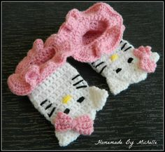 Crochet Kitty slipper socks size 12 months door HomemadeByMichelle