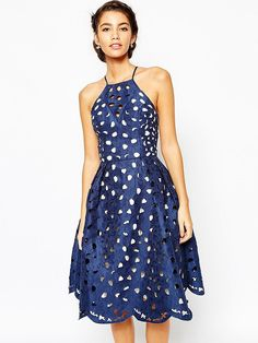 Chi Chi London High Neck Lace Cutwork Full Prom Dress