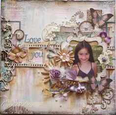 Scrapbook page made by Dusty Attic Design Team member Gabrielle Pollacco using Dusty Attic: Film Strip, Sweet Pea Border, Bracket Frame Set and Small Scrolls chippies.