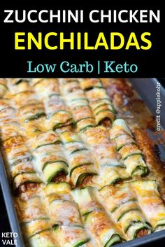 Enchiladas are corn tortillas rolled around a filling and covered with sauce.Enchiladas are corn tortillas rolled around a filling and covered with sauce. To make the keto-friendly recipe and keep it low carb, we use zucchini and chicken f Enchiladas Vegetarianas, Low Carb Enchiladas, Zucchini Enchiladas, Healthy Chicken Enchiladas, Enchiladas Potosinas, Poulet Keto, Comida Keto, Clean Eating, Cooking Recipes