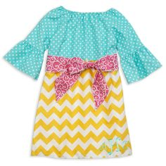 Lolly Wolly Doodle — Aqua Dot Yellow Chevron Pink Swirl Sash Dress