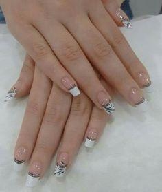 Blanco y negro Solar Nail Designs, Colorful Nail Designs, Gel Nail Designs, French Manicure Nails, French Tip Nails, Gel Nails, Fancy Nails, Cute Nails, Pretty Nails