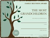 The awards shown above are perfect for the family reunion! The awards cover the most popular and basic categories.  I can create unique customized awards for your event.  Just contact me.