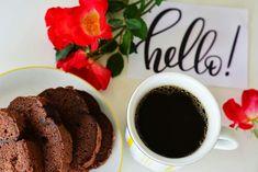 Food photography, chocolate cake, coffee, wild roses